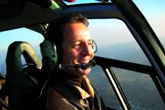 Rolf Kipp im Hubschrauber