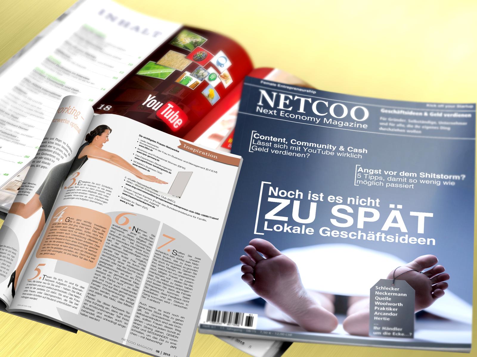 Cover und Inhalt Netcoo Magazin 08-2015